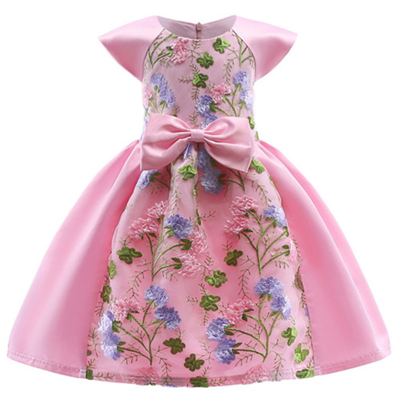 Summer Children Dresses For Girls Kids Embroidery Lace Princess Dress For Girl 2 3 4 5 6 7 8 9 10 Years Birthday Party Dress sleeveless children baby girls kids clothing summer princess party flower bow gown full dresses 2 4 6 7 8 9 10 years