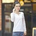 Плюс Размер Женщин С Длинным Рукавом Осень V-образным Вырезом Твердые Новая Мода кружева Футболка Корейский Стиль Тонкий Вскользь Футболка Femme Горячей Продажи