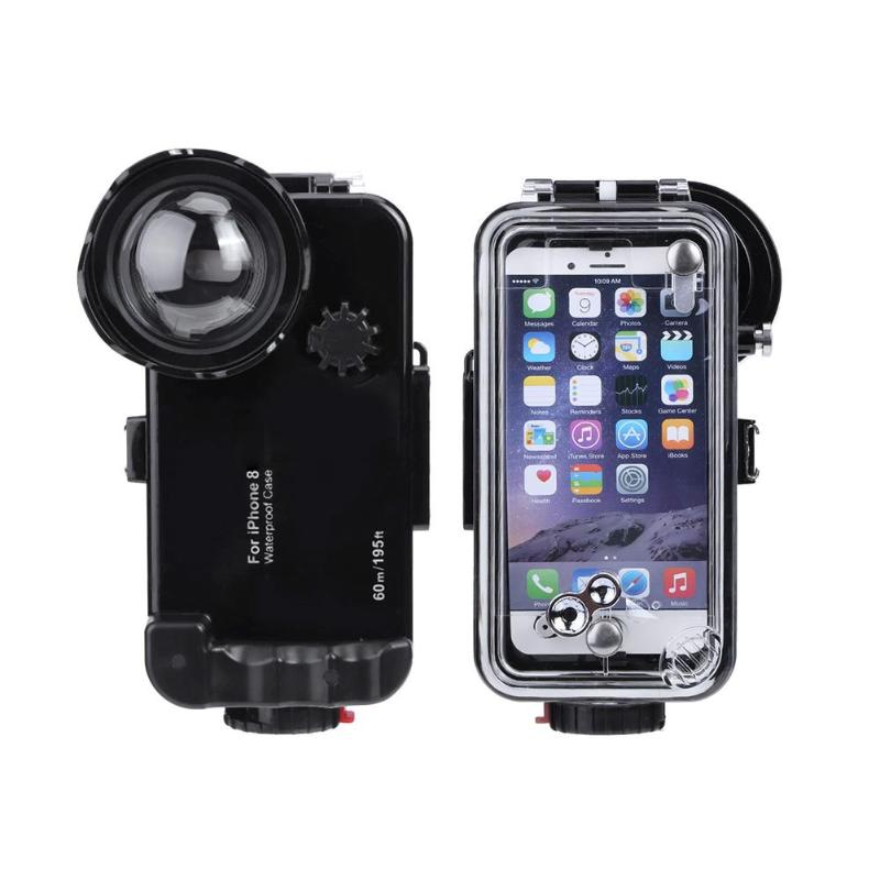 ALLOET Underwater 60m 197FT Diving Shooting Lens Case Cover For IPhone 8 Phone IPX8 Waterproof Explosion