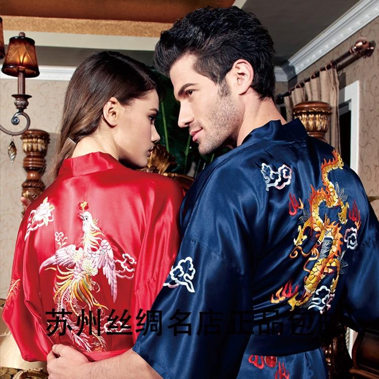 Accept the third party inspection,2016 summer silk bathrobes lovers robe silk sleepwear long-sleeve kimono robe