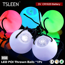 TSLEEN 1pc Shinning LED RGB POI Thrown Balls For Professional Belly Dance Level Hand Props for Concert/Party/Club/Wedding