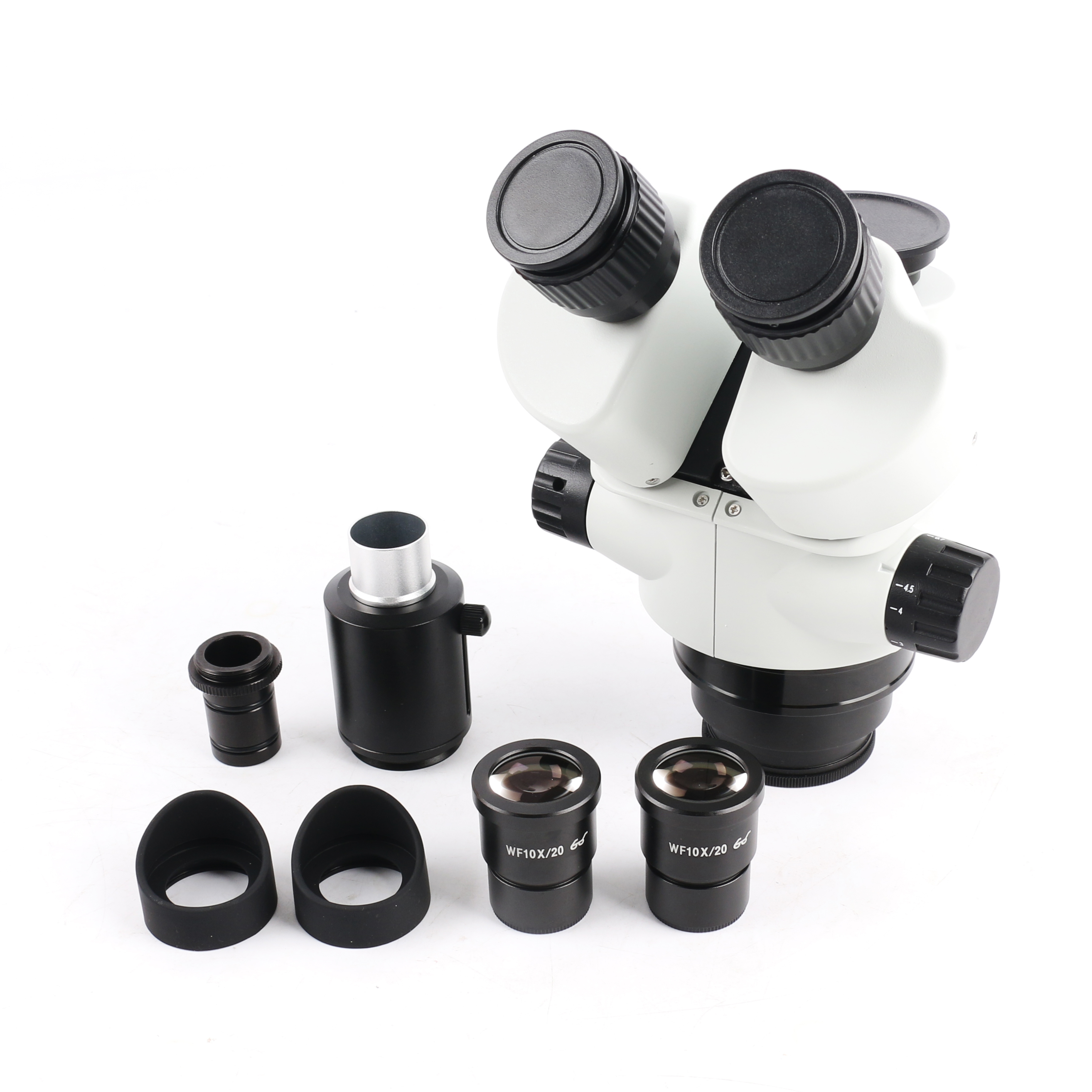 7-45X Continuous zoom Simul-Focal Trinocular Stereo Zoom Microscope Head WF10X/20mm Eyepiece