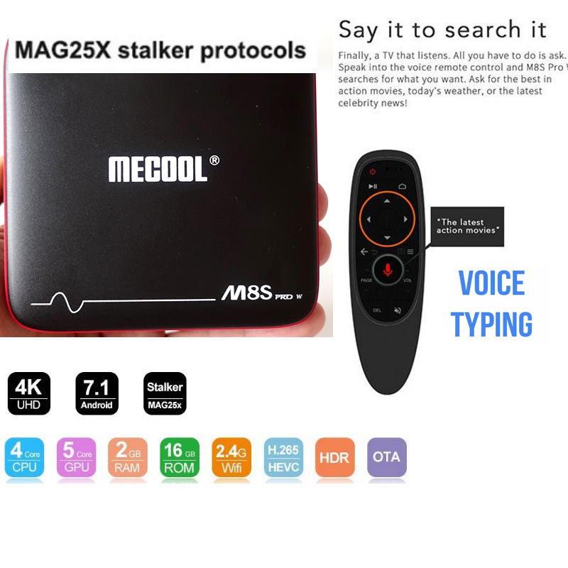 TV Box Android 7.1 vs x96 mini harceleur ma g254 meecool M8S PRO W 2g 16g Commande Vocale + 1 année iptv en option Amlogic S905W h.265