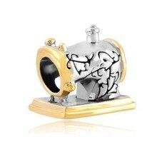 Envío Gratis, máquina de coser, amuletos de la suerte, dos tonos, abalorios antiguos Vintage, compatibles con pulsera Pandora Charm