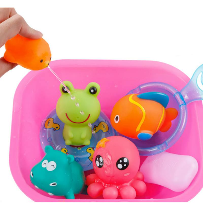 7pcs/set Kawaii Baby Bath Toys High Quality Vinyl Educational Rattle Toy for Newborn Baby Water Spray Toys