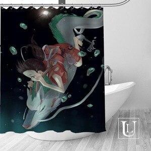 Image 3 - מסע של Chihiro מקלחת וילונות אמבטיה מותאמת אישית וילון אמבטיה עמיד למים בד פוליאסטר מקלחת וילון 1pcs מותאם אישית