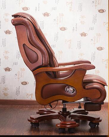 Эксклюзивное офисное кресло, вращающееся кресло из цельного дерева, кожаное кресло с лифтом, массажное кресло с откидывающейся кожей, компь