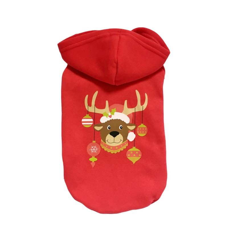 Transer Dog Clothes Dogs Shirt Red Christmas Elk Printed Pet Dog Clothes Costumes Clothing Pet Apparel 3.26