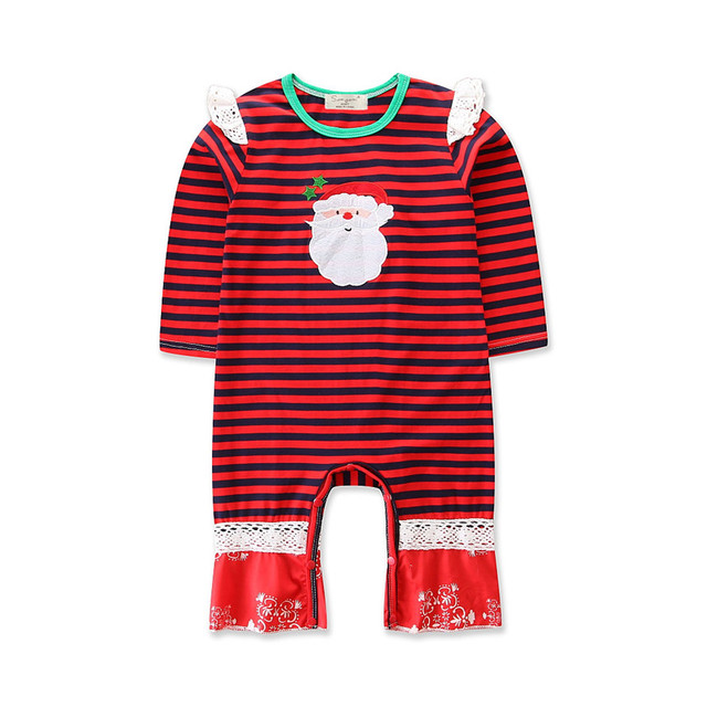 2dbe4b04b18 Baby Girl Clothes Newborn Infant Romper Toddler Girls Cartoon Santa Striped  Print Long Sleeve Jumpsuits Kids Christmas Clothing