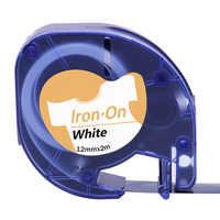 1 pçs/lote 18771 Ferro-Em Etiquetas de Tecido 12 milímetros Compatível para Dymo Letratag Fitas Rótulo Preto em Tecido Branco ferro-em Fitas Dymo LT