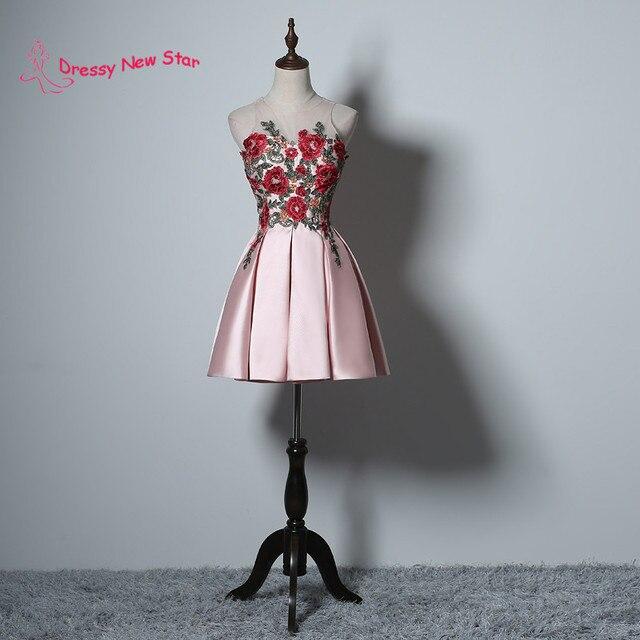 Rosa Farbe Rosen Spitze Appliques Mädchen Kleid Short Prom Dresses ...