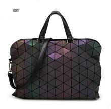 2017 lichtsack Frauen Geometrie Pailletten Spiegel Saser Einfachen Klapp Taschen Leucht Handtaschen PU Casual bag Nachtleuchtende hologramm