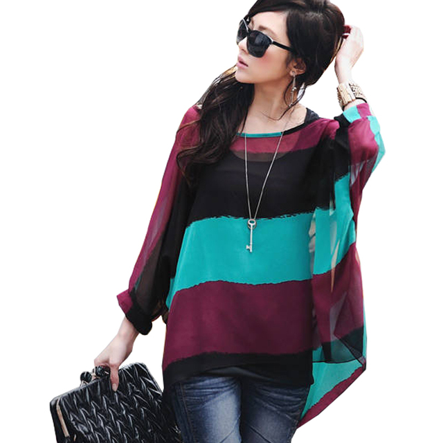 Plus Size 2018 Women Blouses Batwing Sleeve Casual Loose Summer Tops Tees  Striped Print Boho Beach Chiffon Shirts Camisas Mujer abb5d6bdc