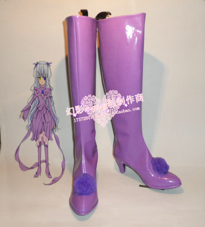 Rozen Maiden Barasuishou Purple Halloween Long Cosplay Boots Shoes H016