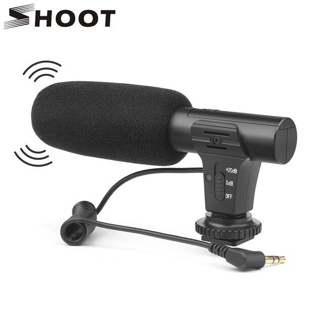 Внешний конденсаторный стереомикрофон SHOOT 3,5 мм для цифровой зеркальной камеры Nikon, Canon, Sony, микрофон для видеосъемки и интервью