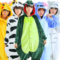 Unisex Adult Woman Pajamas Flannel Pyjamas Animal Pajama Sets Cute Hooded Sleepwear Unicorn Panda Pikachu Stitch