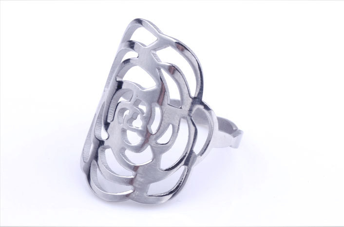 New Fashion Women Rose Flower Stainless Steel Ring Sliver Color Hollow Wedding Rings Lady Stainless Steel Rings US 6-10