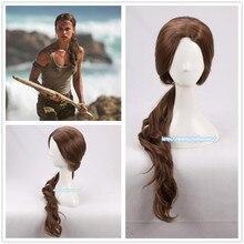Lara Croft Peruk Gölge en Tomb Raider Lara Croft Peruk 70cm Kıvırcık Kahverengi Sentetik Saç Alicia Vikander Rol oyun Kostümleri Sahne