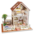 A025 DIY 1:12 3D Wooden Doll House Miniatura Furniture Wood Dollhouse Miniature large model house villa free shipping