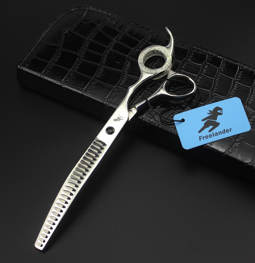 7.5 inch Dog Hair Clippers Silver Scissors Downward Curved Thinning Pet Styling Tool Trimming Hair Shear with Bag