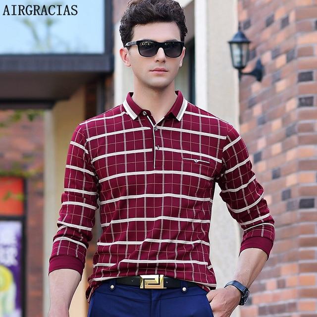 AIRGRACIAS 2017 Nova Camisa POLO Dos Homens de Moda Inglaterra Estilo Polo  Homme Slim Fit da ef373f11d37ba