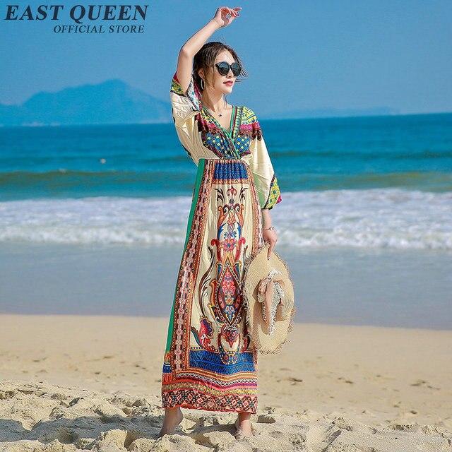 c8487ec99a Women Boho chic mexican hippie ethnic style dress clothing bohemian holiday  beach fashion female sexy dresses NN0615 Y