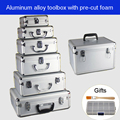 Aluminium legierung toolbox Koffer Instrument box Ausrüstung Datei Box Kosmetische Fall Aluminium fall Tool box mit Schwamm Kostenloser versand