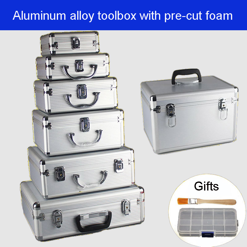 Aluminum alloy toolbox Suitcase Instrument box Equipment File Box Cosmetic Case Aluminum case Tool box with Sponge Free shipping
