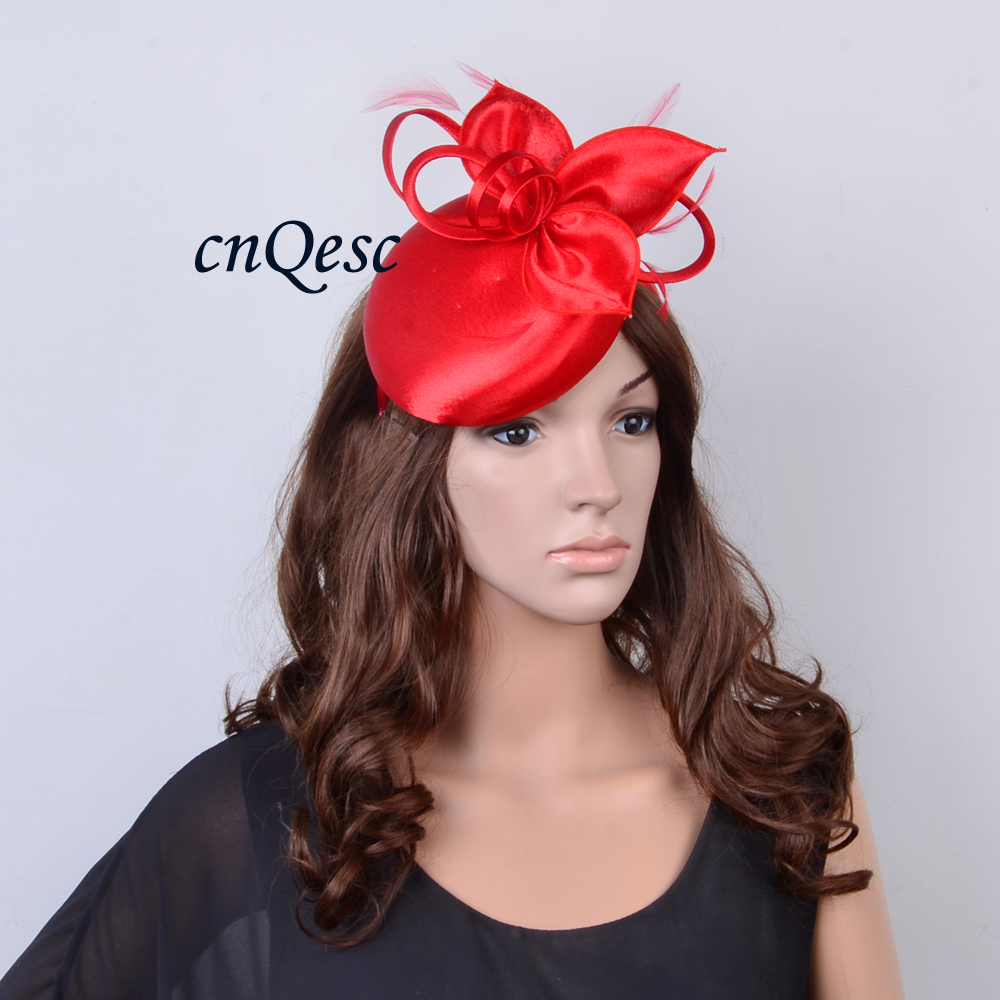 Wholesale Elegant NEW 8 colors Red Matte satin fascinator sinamay hat for wedding party Races.FREE SHIPPING.QF117