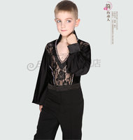 Ladies Men Latin Dance Costume Tops Performing Costumes Adult Tailoring Fall Trousers Black Lace Long Sleeve Set