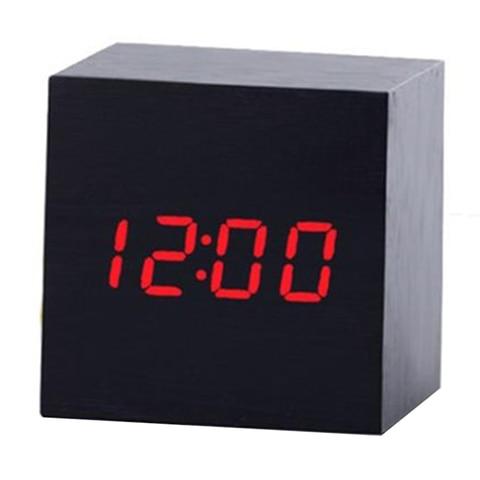 Multicolor Sound Control Wooden Wood Square LED Alarm Clock Desktop Table Digital Thermometer Wood USB/AAA Date Display Clocks Multan
