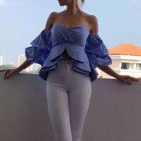 S XXXL New Women's Sexy Bubble Sleeve Ruffled Wrap Chest Slim Crop Tops Sexy Nightclub wear White blue Tops Off Shoulder Shirts