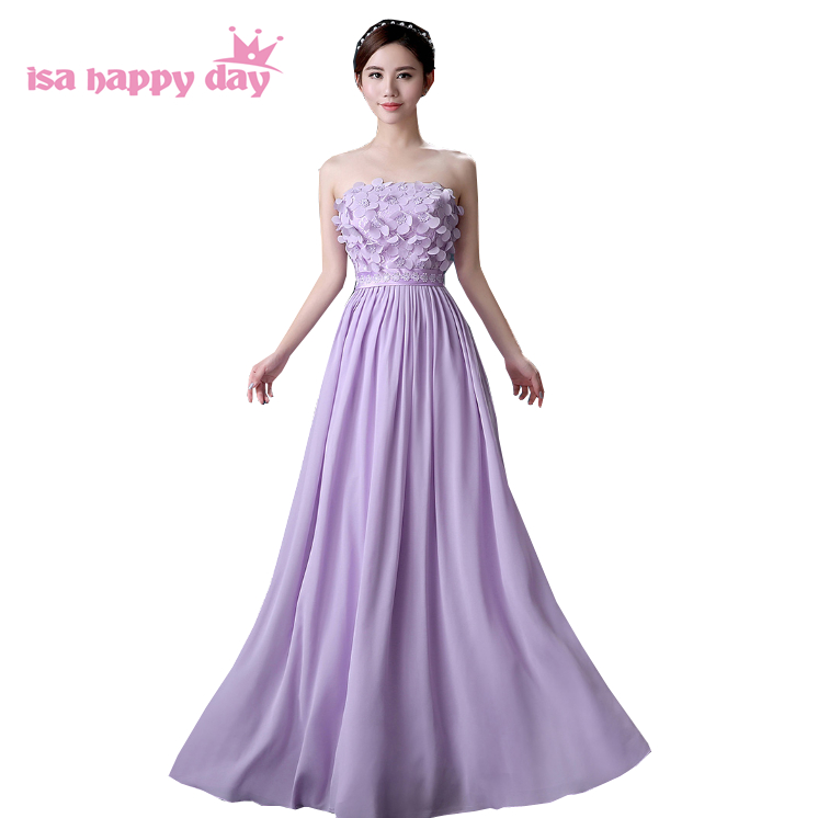 2019 long chiffon women customize size   dress   floor length lilac   bridesmaid   strapless the bride fitted   bridesmaids     dresses   H4122
