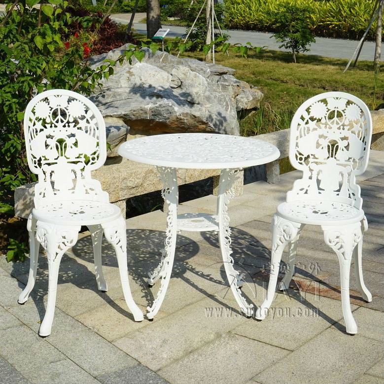 3 piece cast aluminum durable tea set patio furniture garden ...