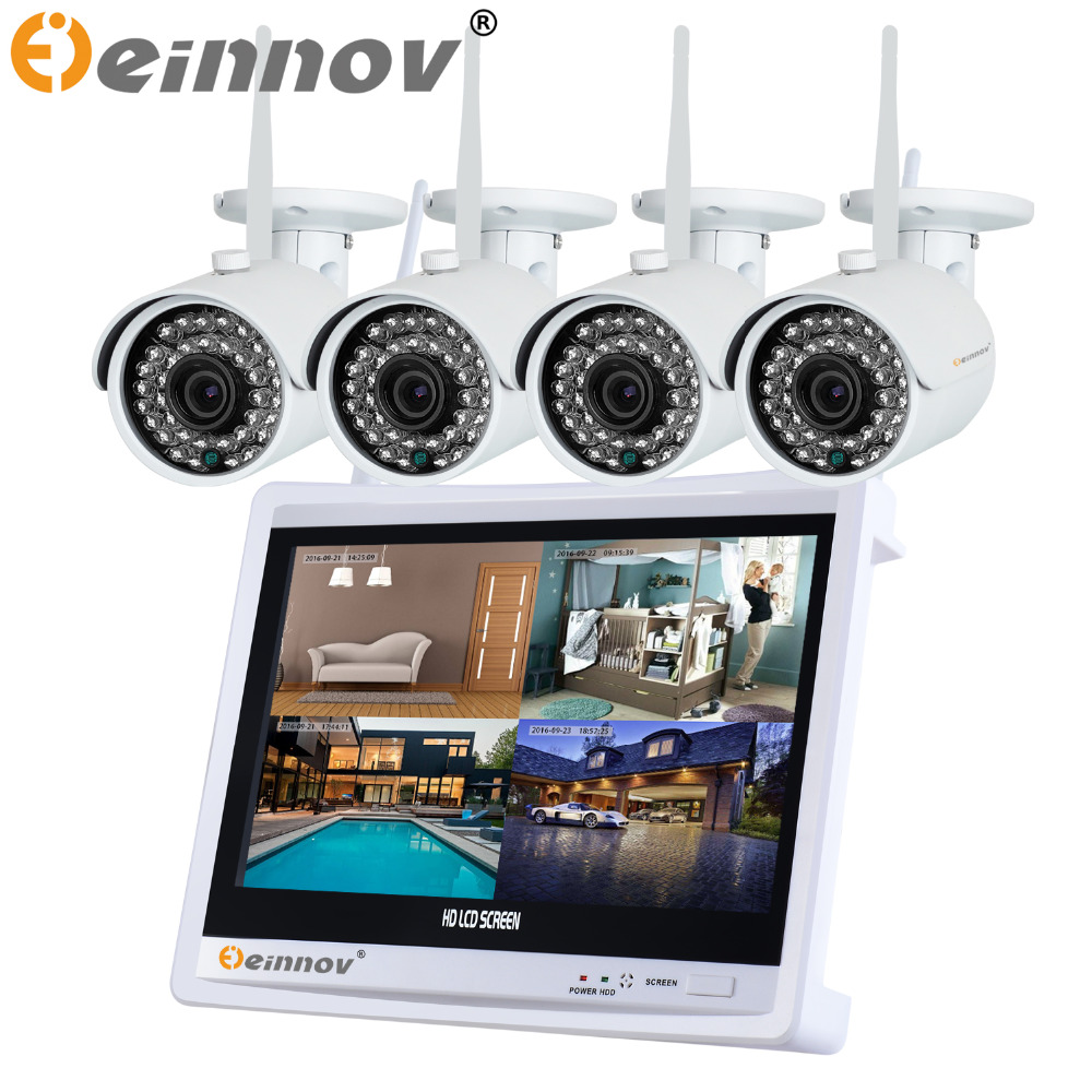 720P HD Security CCTV Camera System Wireless Surveillance Outdoor IP Cameras WIFI 12' LCD Screen Video Baby Monitors Kit 1TB HDD new listing plug and play 4ch wireless nvr kit 7 inch lcd screen 720p hd outdoor security wifi camera cctv system 1tb hdd
