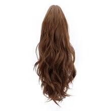 """18 """"syntetyczny pazur kucyk peruki przedłużanie włosów brązowy blond kręcone klip w ludzkich włosy w koński ogon rozszerzenia żaroodporne"""