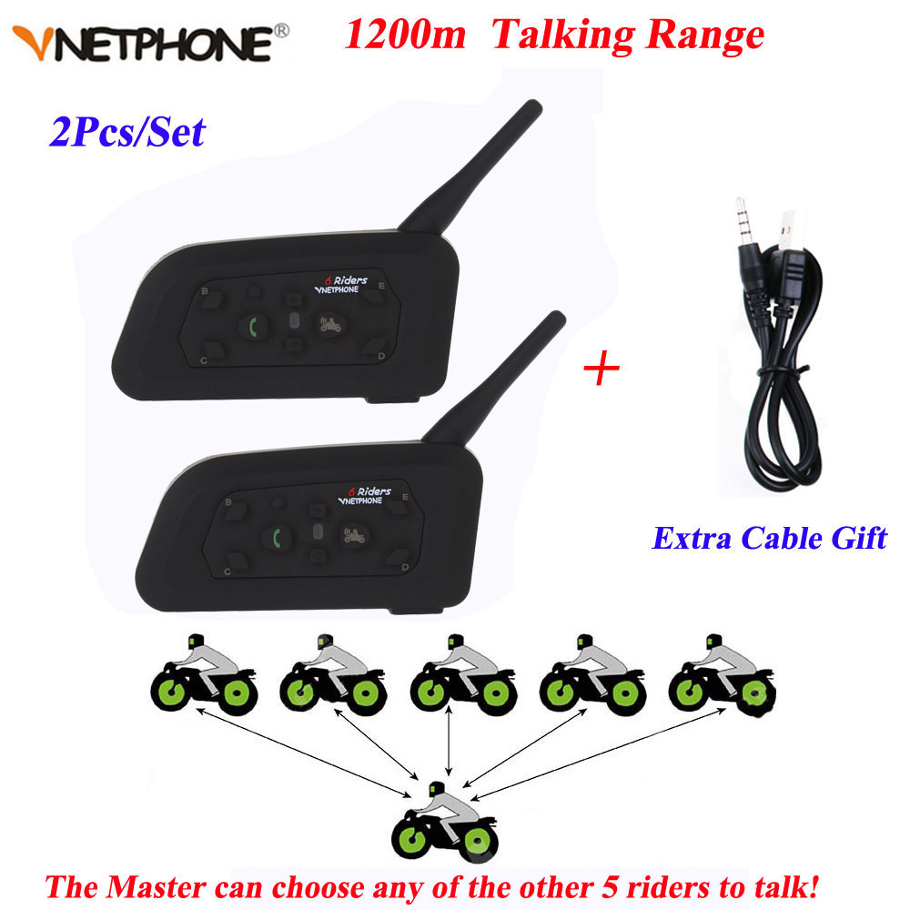 Vnetphone 2PCS V6 Motorcycle Bluetooth Helmet Intercom 1200M Moto Wireless BT Walkie-talkie V6-1200 Helmet Interphone Headsets 2pcs 1set motorcycle helmet mount bluetooth motorcycle helmet intercom duplex real time interphone walkie talkie 6 riders 1200m