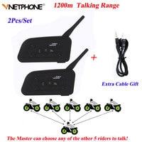 Vnetphone 2PCS V6 Motorcycle Bluetooth Helmet Intercom 1200M Moto Wireless BT Walkie talkie V6 1200 Helmet Interphone Headsets