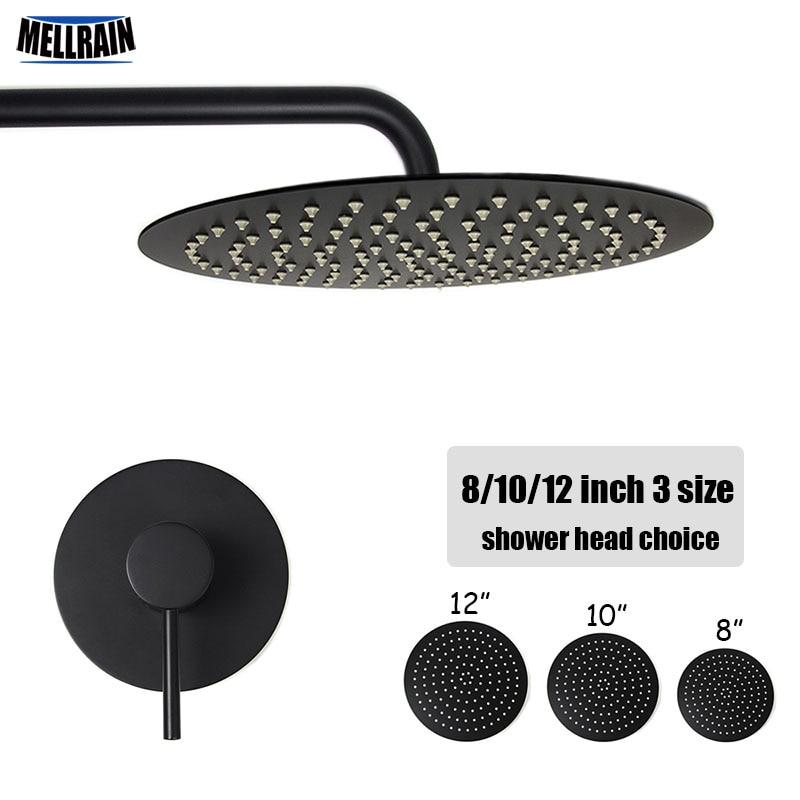 Ванная комната черный настенный Для ванной набор для душа один способ латунь смеситель 2 мм из нержавеющей стали толщиной душем 8 10 12 дюймов