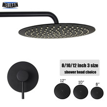 цена Bathroom black wall mounted bath shower set single way brass mixer faucet 2 mm thick stainless steel shower head 8 10 12 inch