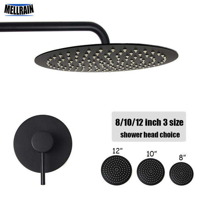 Bathroom black wall mounted bath shower set single way brass mixer faucet 2 mm thick stainless steel shower head 8 10 12 inch