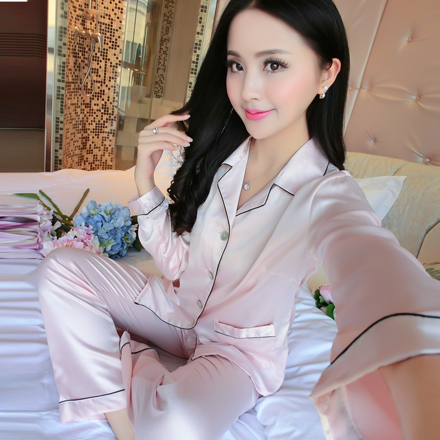 Women Elegant Silk Satin Pajama Set Long Sleeve Pijama Set V-neck Pyjama Femme Solf Sleep Wear Night Wear Fashion Home Clothes 10