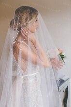 כלה רעלה לבן/שנהב ארוך חתונת רעלה אביזרי חתונה מטפחת Veu De Noiva עם תחרה פרחי beadwork MD3090