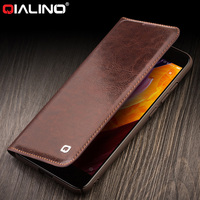 QIALINO Vintage Genuine Leather Wallet Case For Xiaomi Mi6 Card Slot Flip Cover For Xiaomi Mi