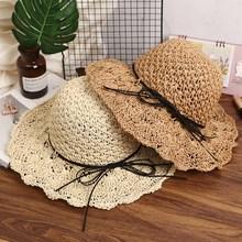Handmade Del Tessuto Rafia Cappelli di Sun Per Le Donne Black Lace Ribbon  Up Tesa larga Cappello di Paglia Spiaggia All aperto B.. f6e6b08ce996