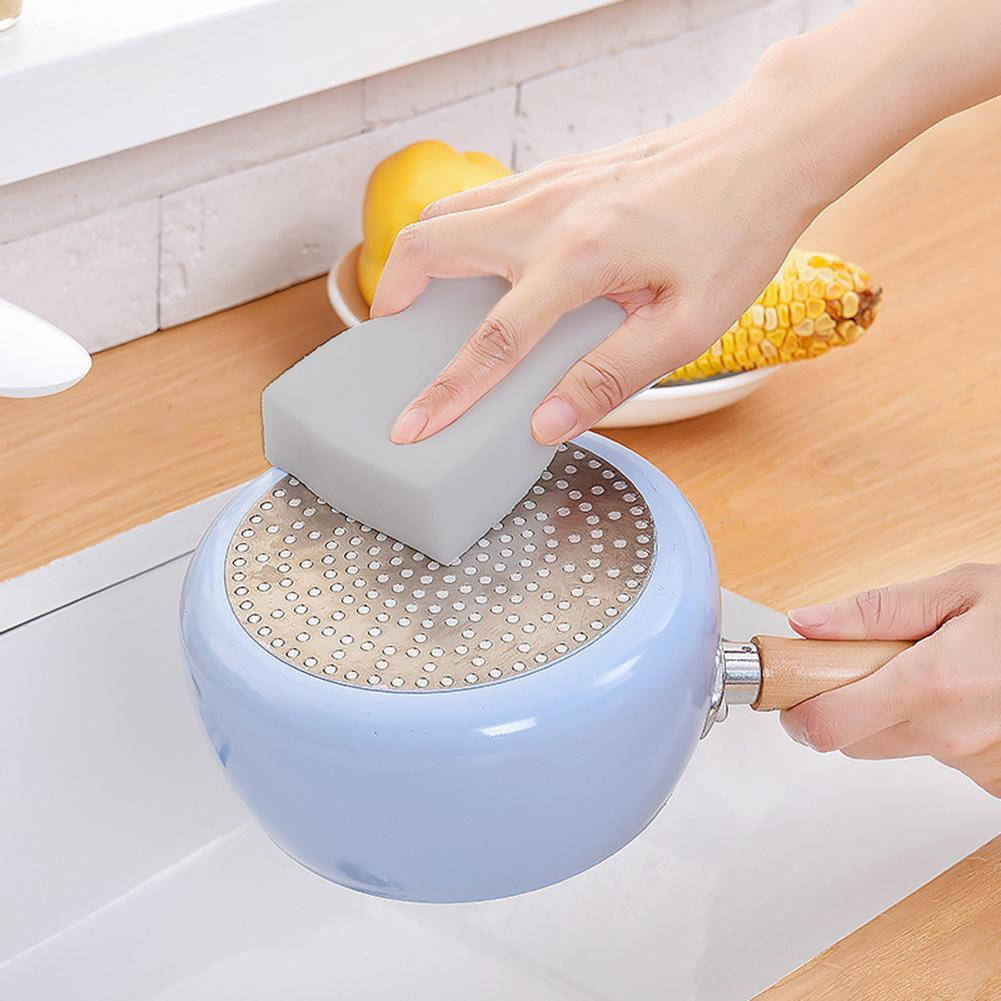 1 Pcs Cleaning Sponge With Strong Power Environment-Friendly Multi-Purpose Cuttable Gray