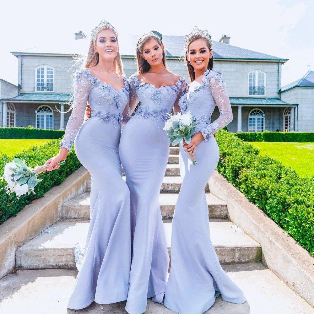 Vestido De Festa Longo Sexy Long Sleeves Mermaid Bridemaid Dresses Lace Appliques Prom Dresses Long Wedding Party Gowns