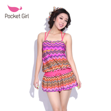 2016 Women Bikinis Set Biquini Split Swimwear Female Push Up Skirted Swimsuit 3 set pcs Ladies