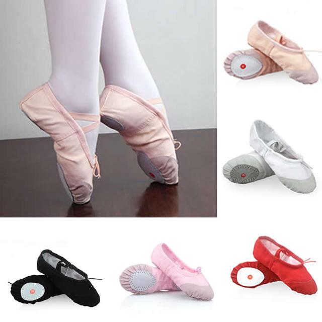 2017 muchachas de la manera niños del bebé zapatillas de baile de ballet shoes shoes soft split-suela de lona de los niños de la princesa zapatos de baile plana ocasional shoes