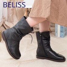 Купить с кэшбэком BELISS fur winter boots women new style 2018 fashion genuine leather warm wool snow boots female mid calf high quailty B42